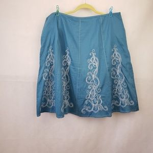 Ann Taylor Blue White Embroidered Skirt Size 14